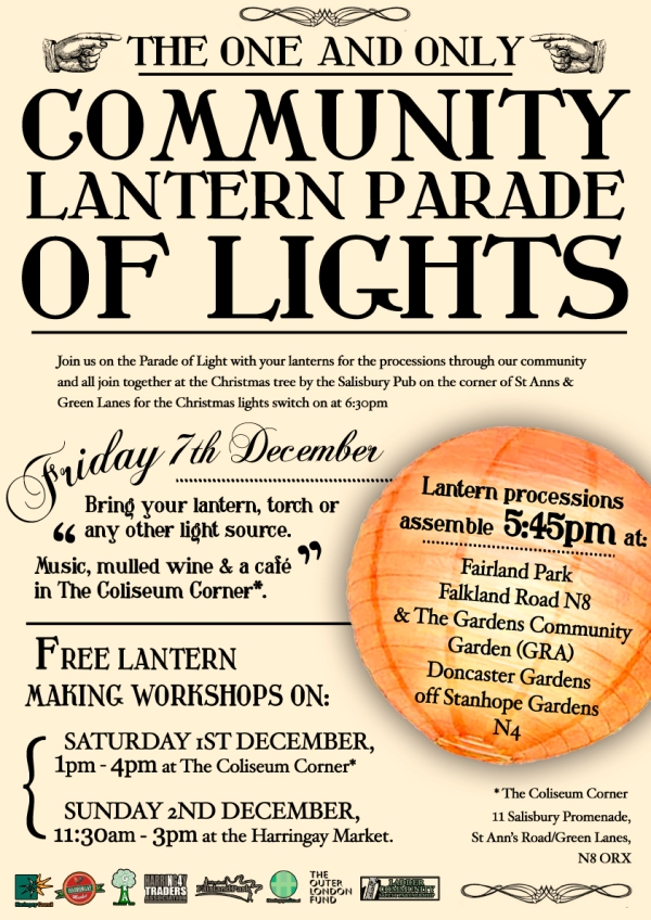Harringay Lantern Parade, Friday 7th December - starts in Fairland Park at 5.45pm
